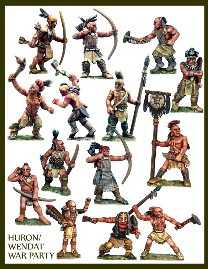 Amérindiens (Bob Murch pour Crucible Crush miniatures) Hurons-F&F